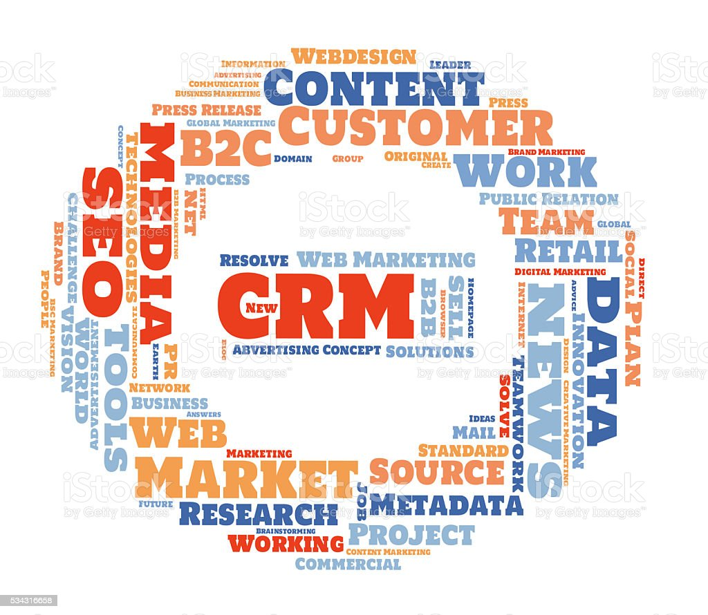 CRM word Cloud stock photo
