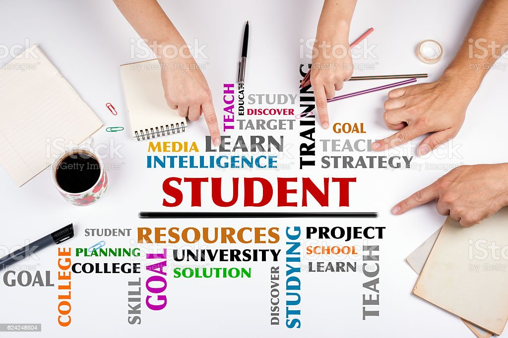 STUDENT word cloud stock photo