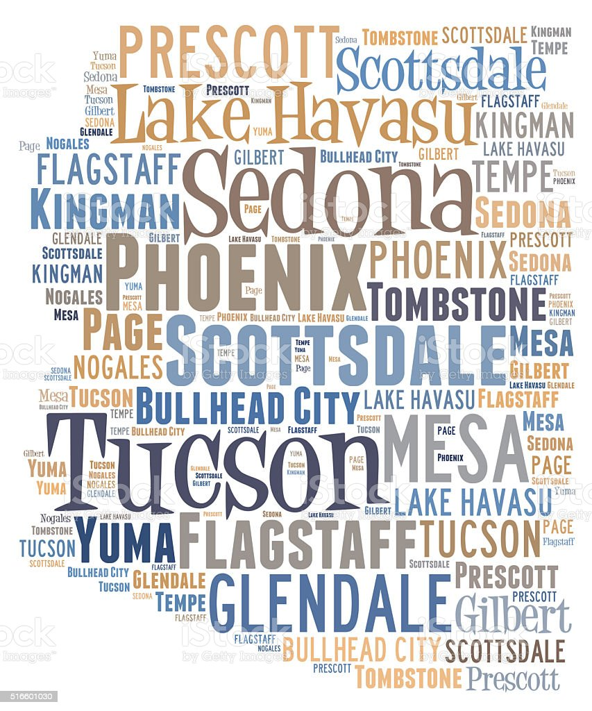 Word Cloud showing cities in Arizona stock photo