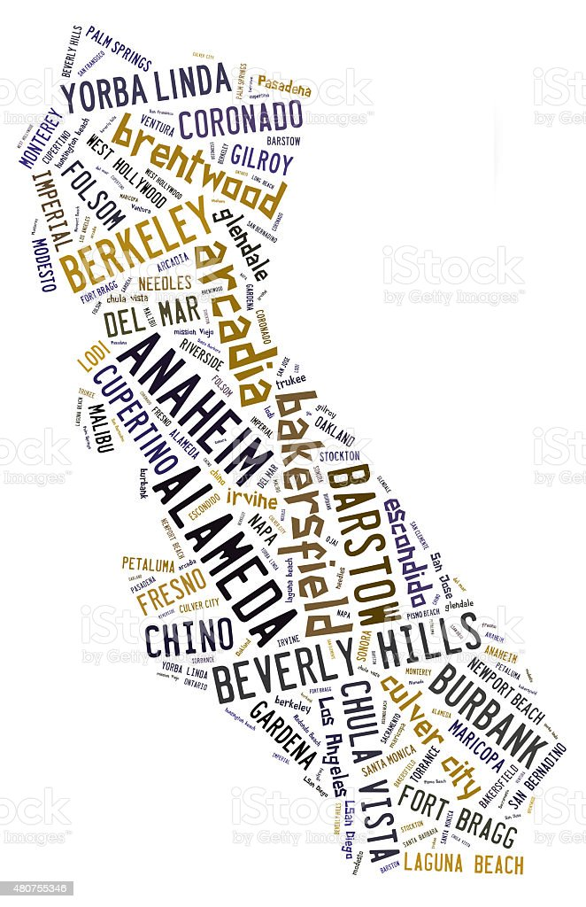 Word Cloud showing cities in California stock photo