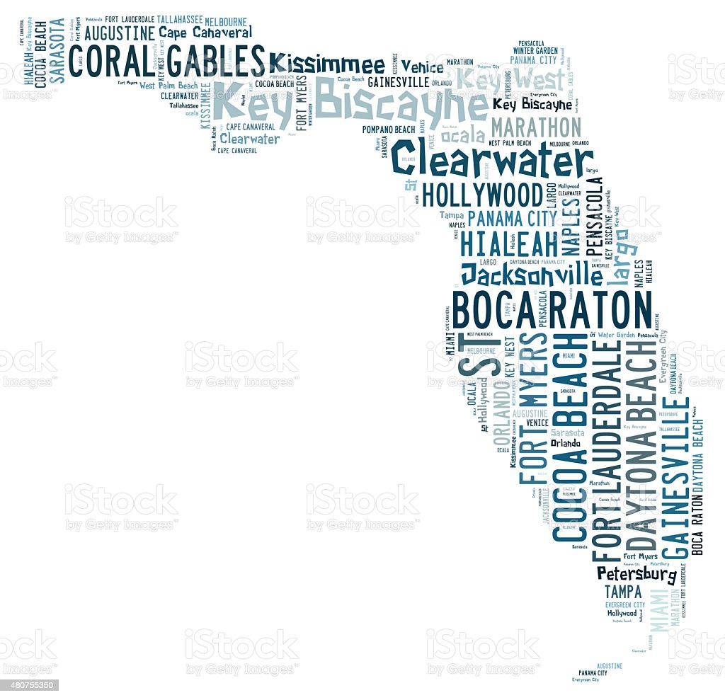 Word Cloud showing cities in Florida vector art illustration