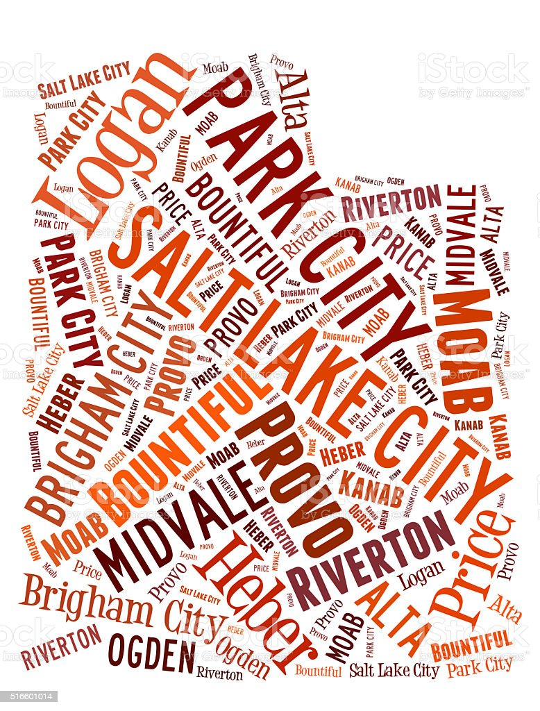 Word Cloud showing cities in Utah stock photo