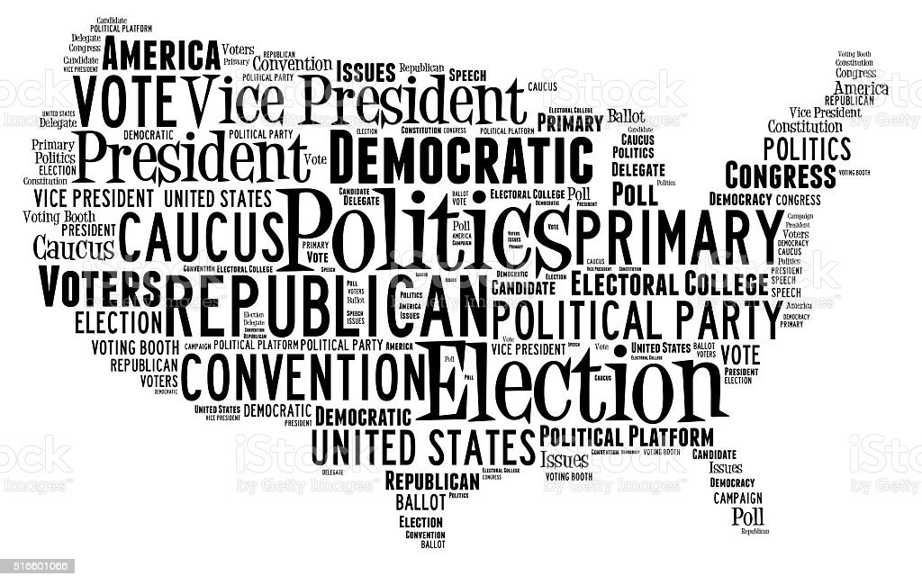 Word Cloud showing election words stock photo