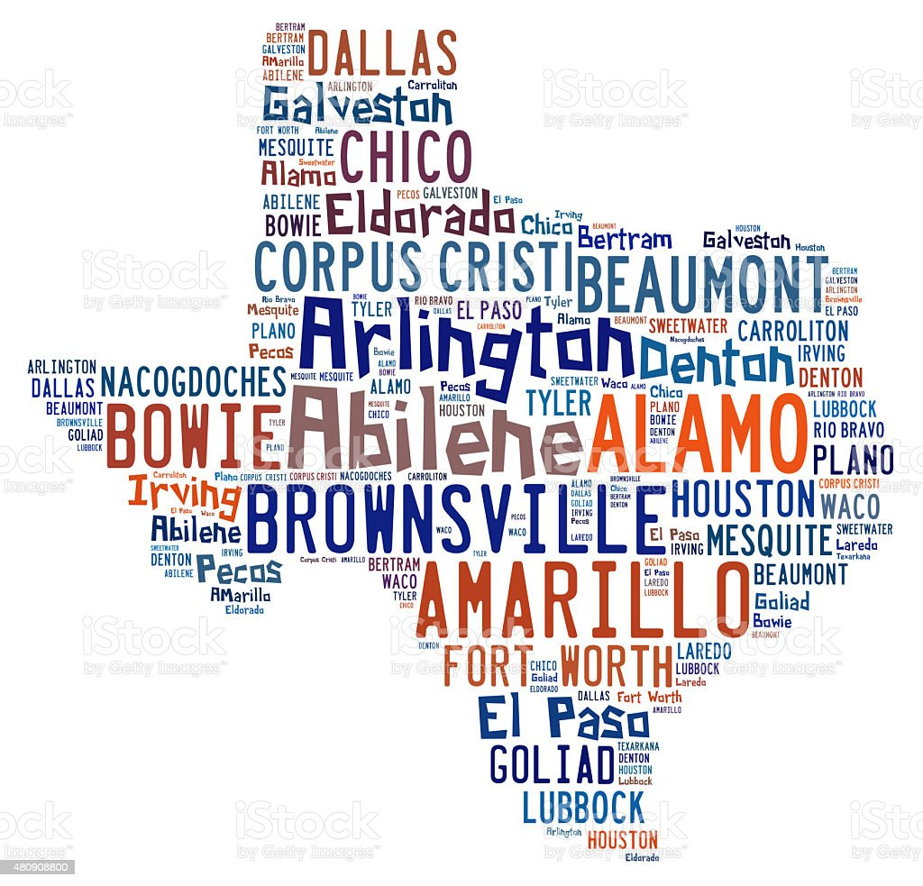 Word cloud showing the cities in Texas stock photo