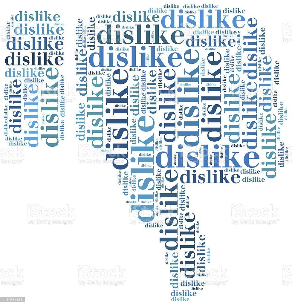 Word cloud social media related in shape of thumb royalty-free stock photo