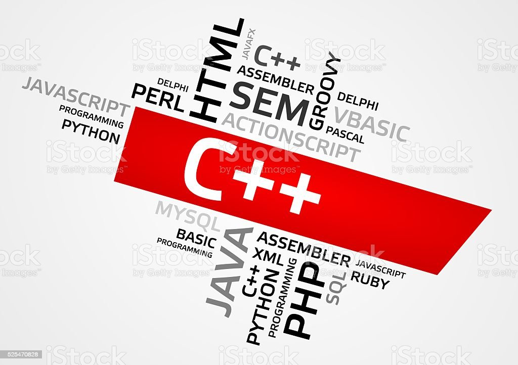 C++ word cloud, tag cloud, graphics stock photo