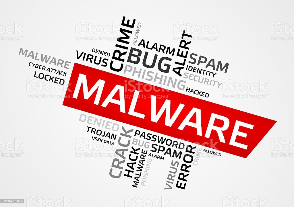 MALWARE word cloud, tag cloud, graphics stock photo