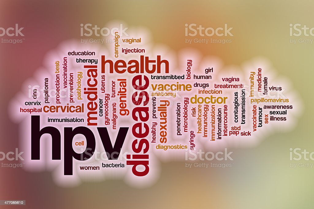 HPV word cloud with abstract background stock photo