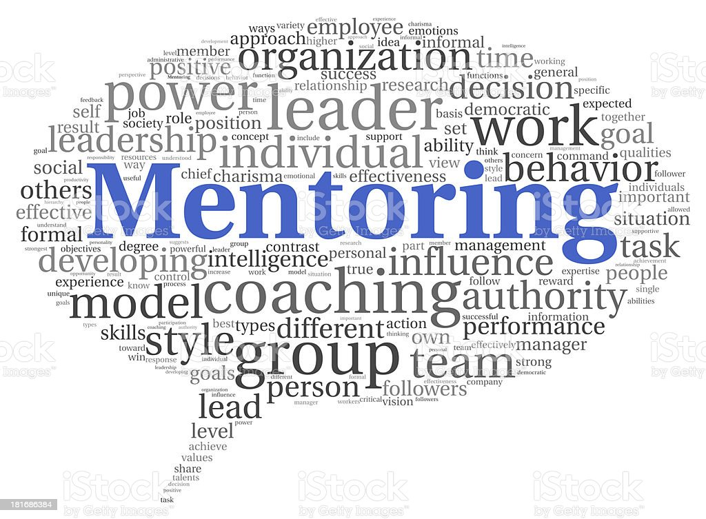 Word cloud with black and gray words with big blue mentoring stock photo