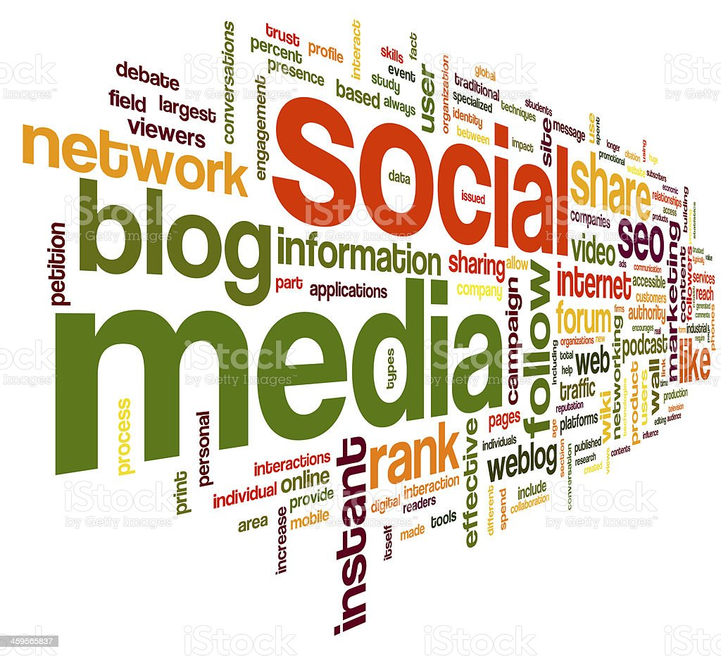 A word cloud with social media topics stock photo