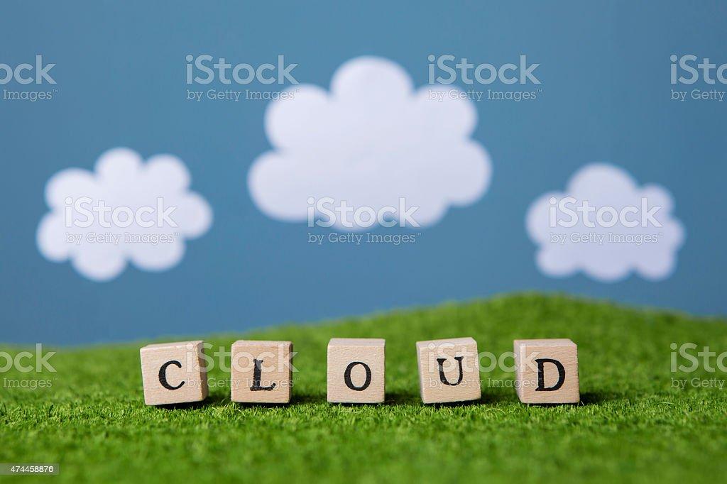 Word Cloud written on wooden blocks stock photo