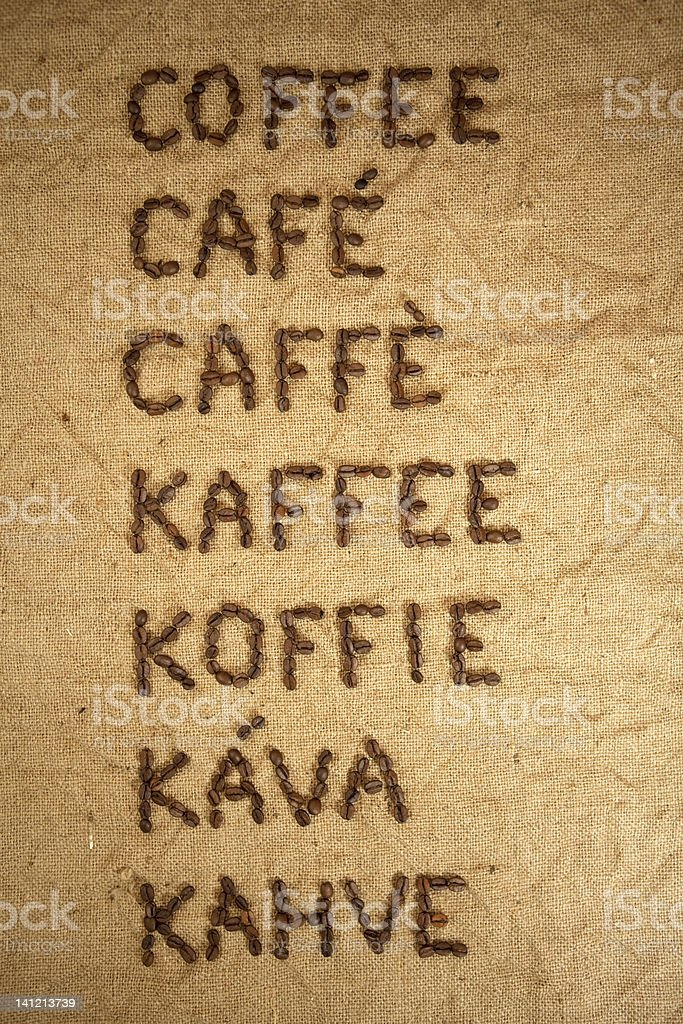 Word coffee in various languages royalty-free stock photo