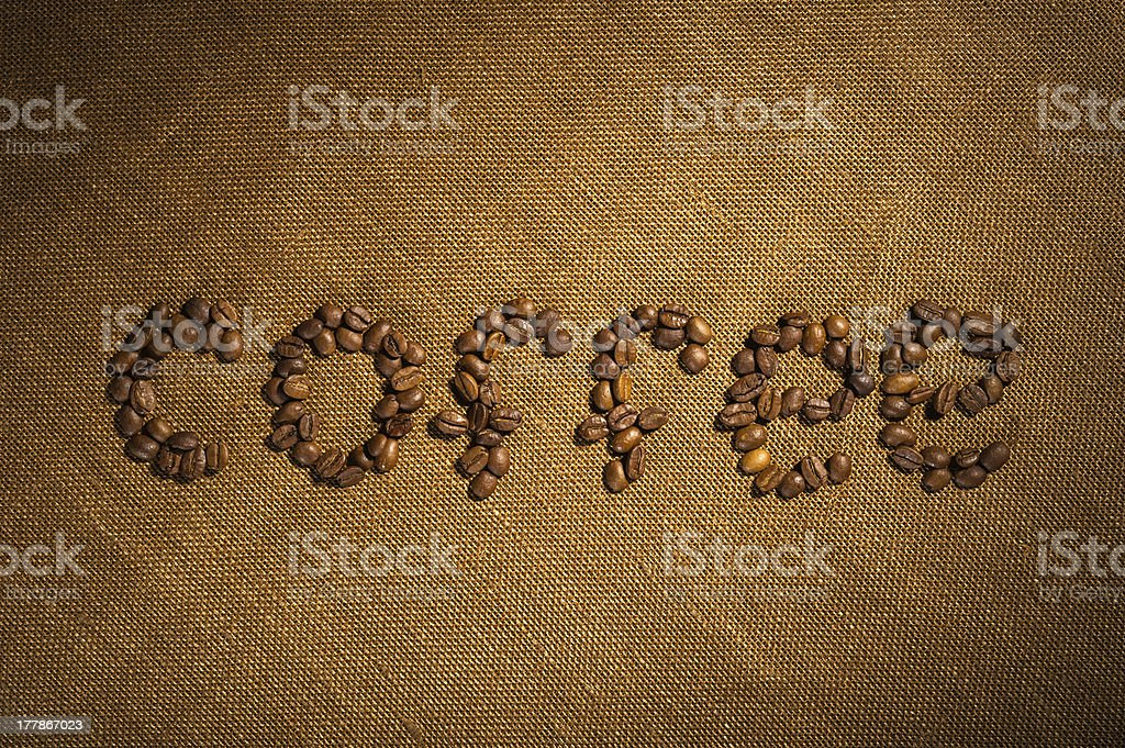 Word coffee made from beans royalty-free stock photo