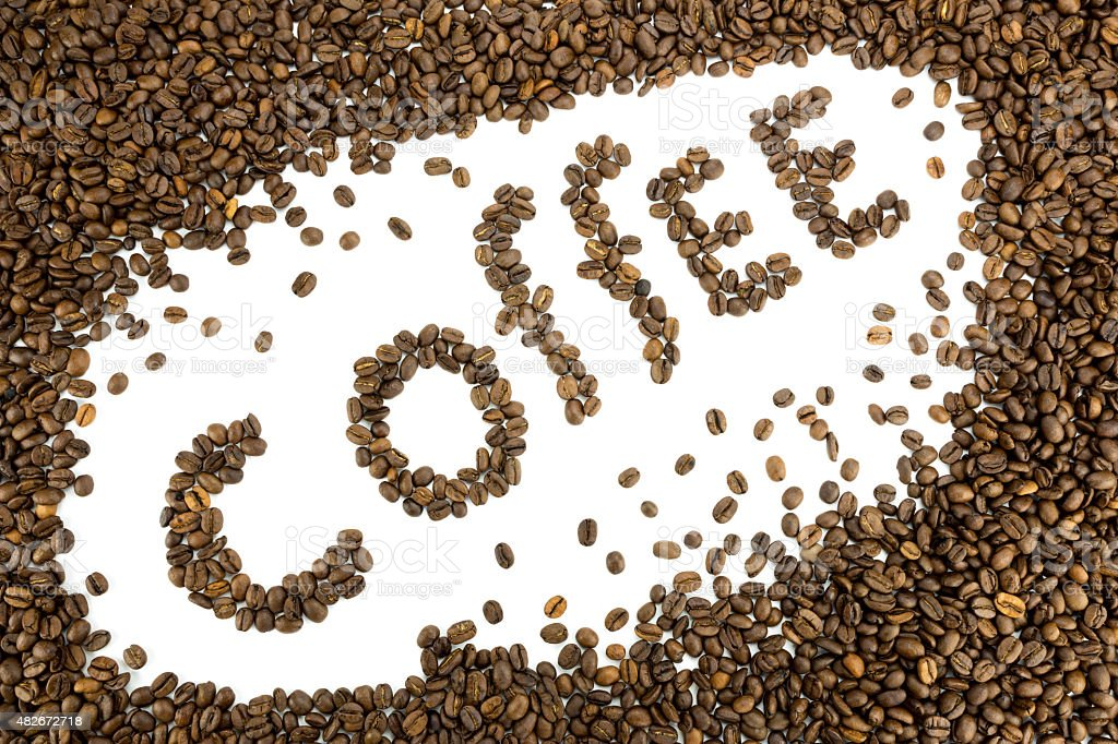 Word coffee made of coffee beans stock photo