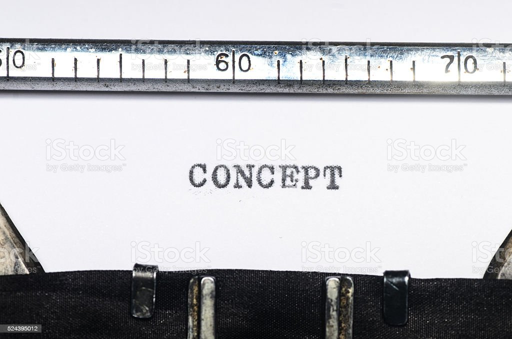Word concept typed on typewriter stock photo