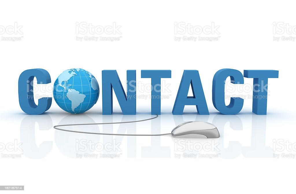 3D Word Contact with Earth Globe and Computer Mouse royalty-free stock photo