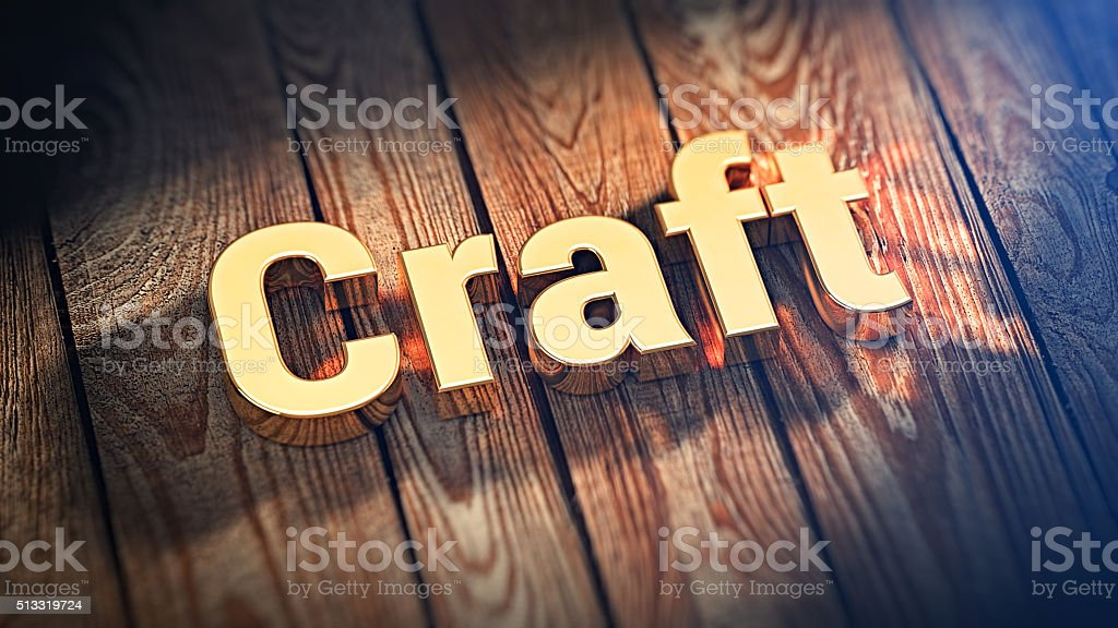 Word Craft on wood planks stock photo