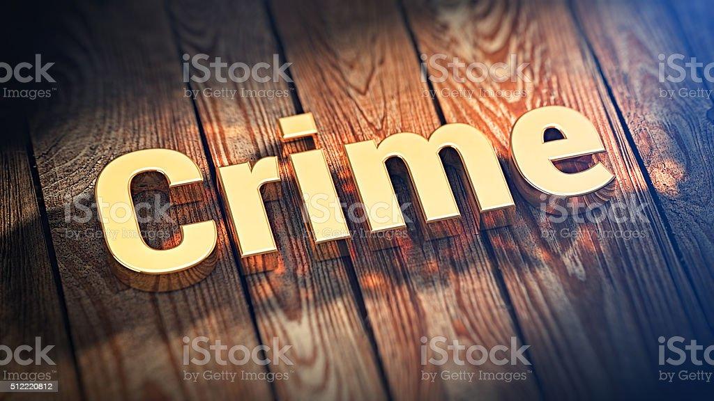 Word Crime on wood planks stock photo