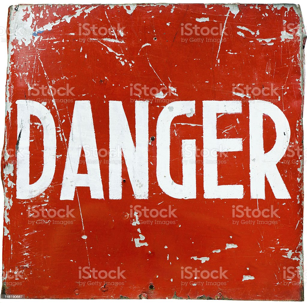 word  danger  on a red shield royalty-free stock photo