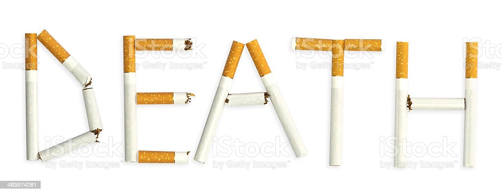 Word death, made of cigarettes royalty-free stock photo