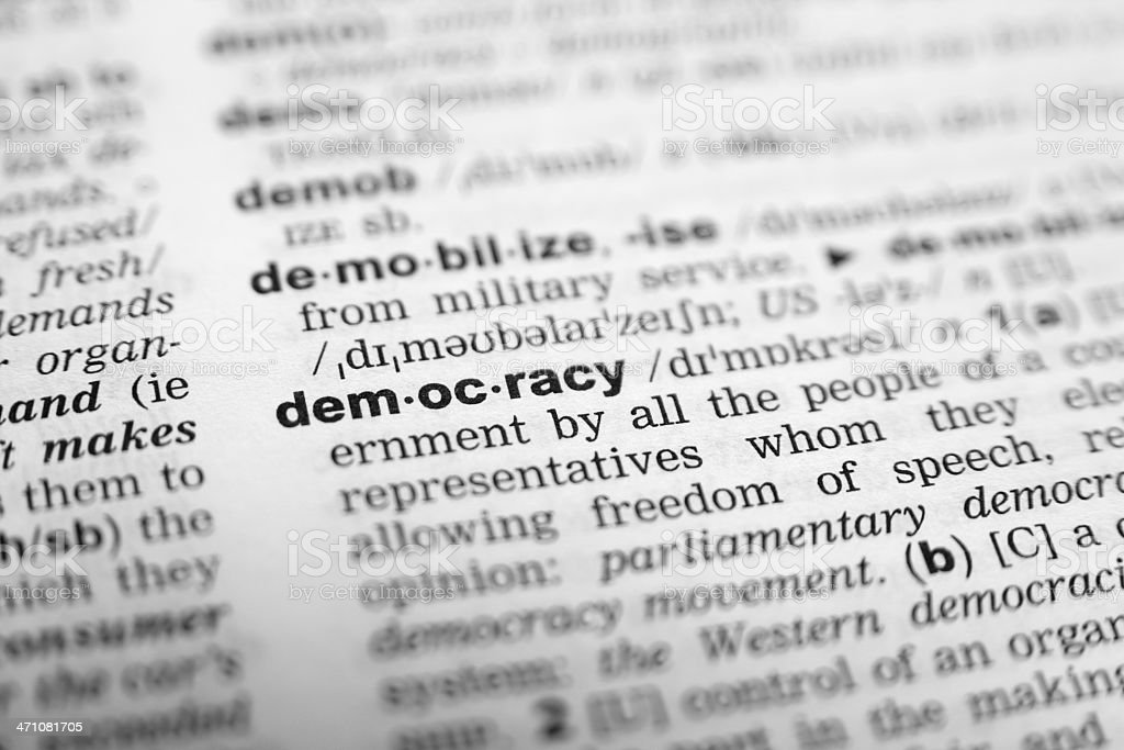 Word Democracy in the dictionary royalty-free stock photo
