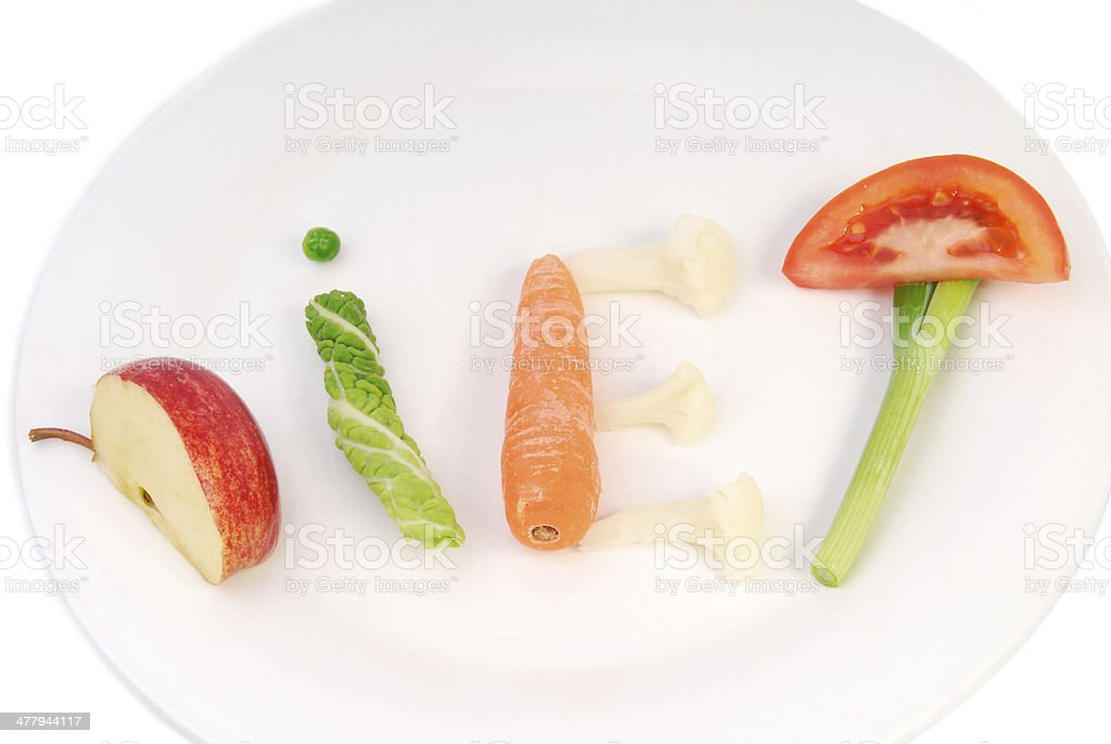 word diet made of vegetables royalty-free stock photo