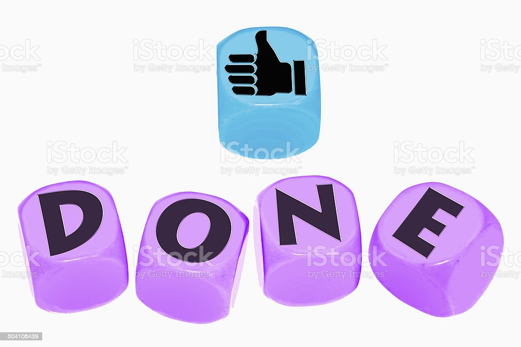 word DONE on cubes stock photo