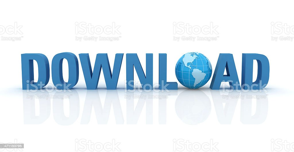 3D Word Download with Earth Globe royalty-free stock photo