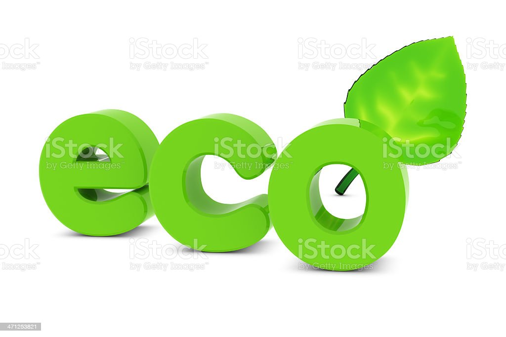 Word 'Eco' and Leaf royalty-free stock photo