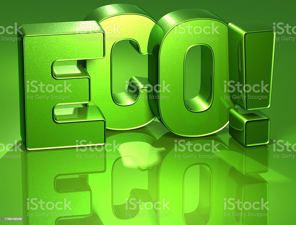 3D Word Eco on green background stock photo