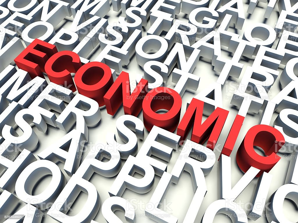 Word Economic in red. 3d render illustration. stock photo