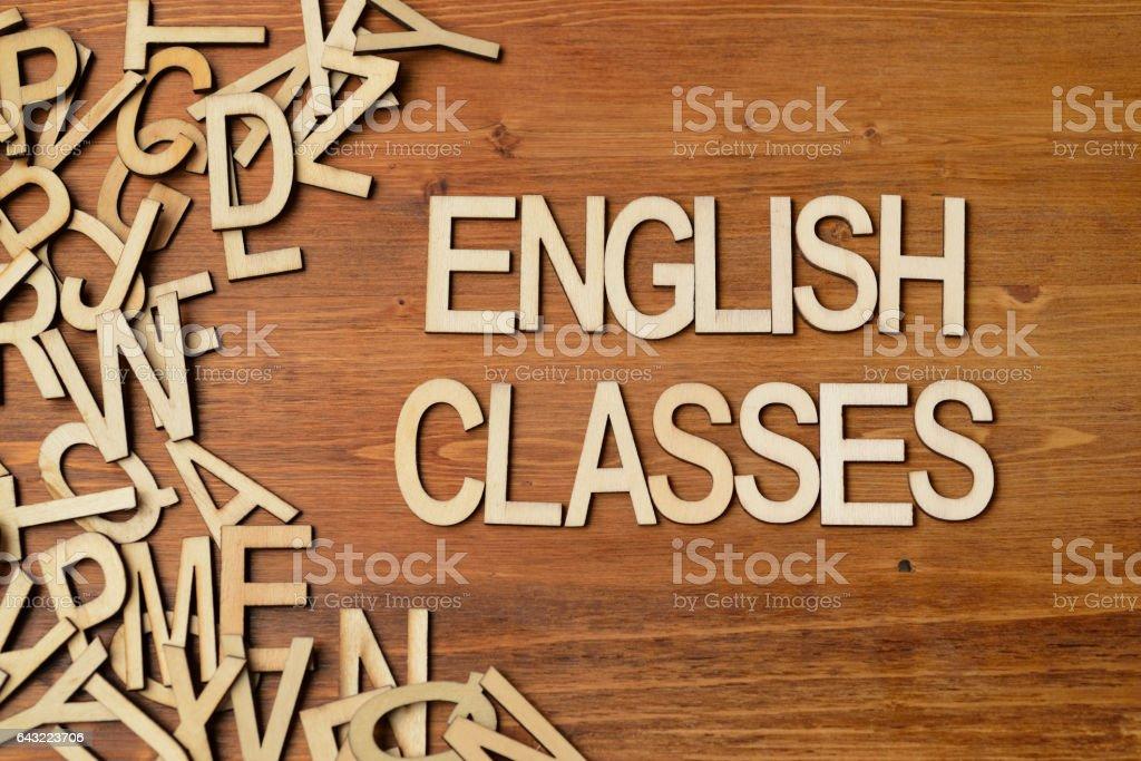 Word english classes stock photo