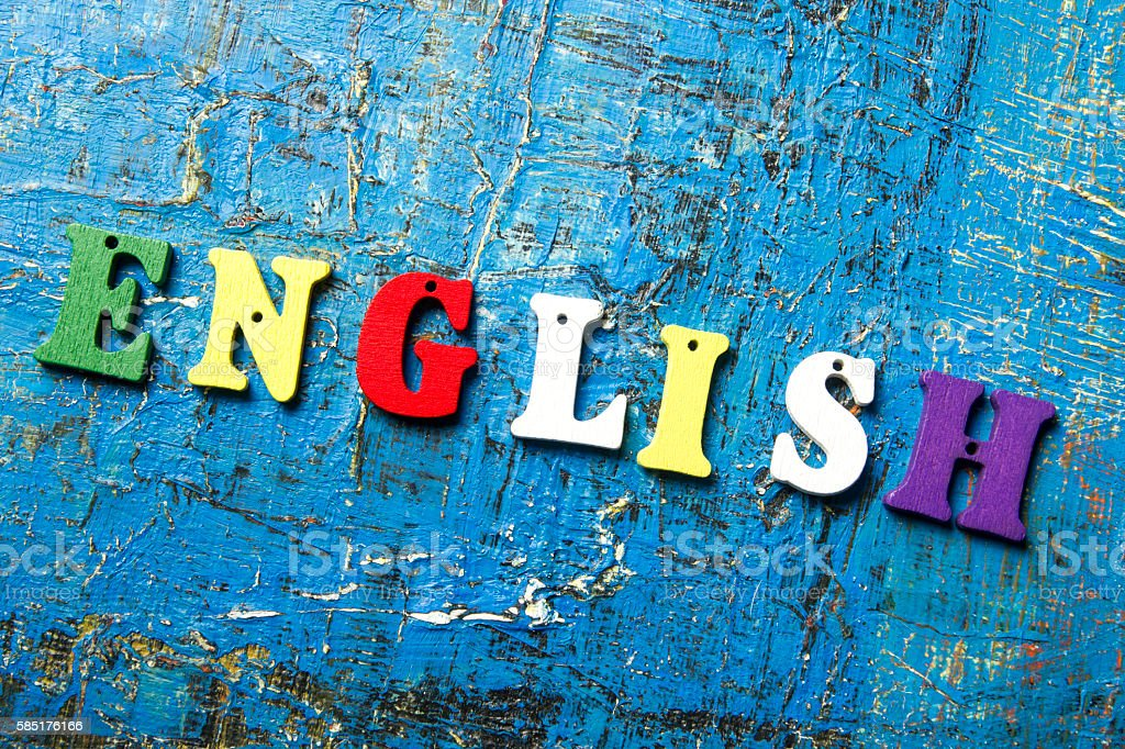 Word english made with colorful abc wooden letters stock photo
