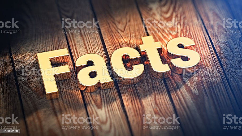 Word Facts on wood planks stock photo