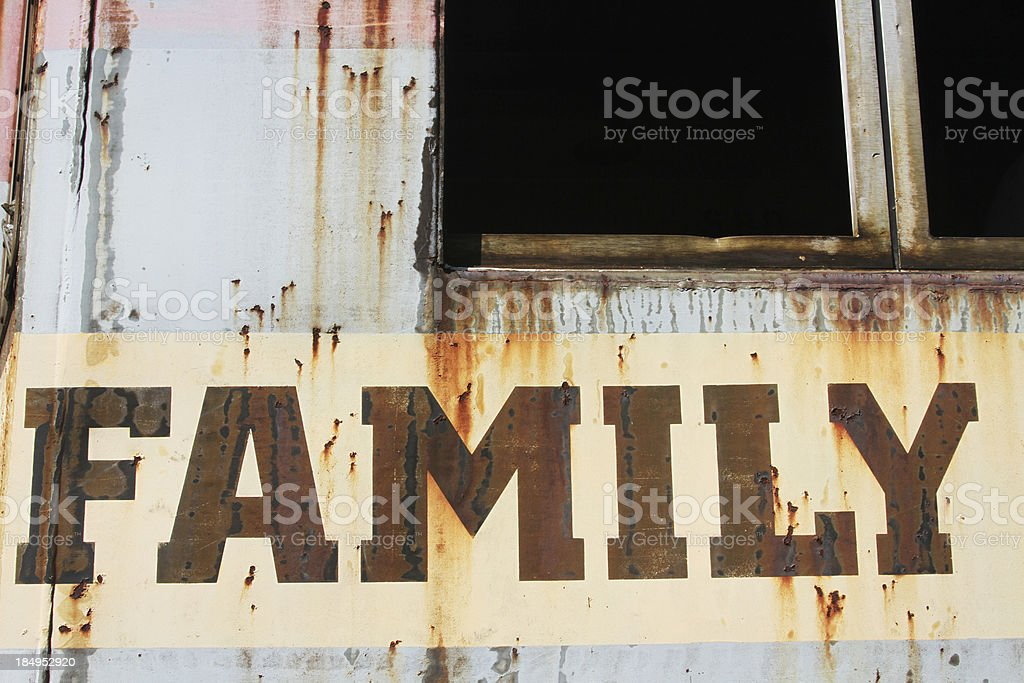 Word Family in peeling paint on rusted metal royalty-free stock photo