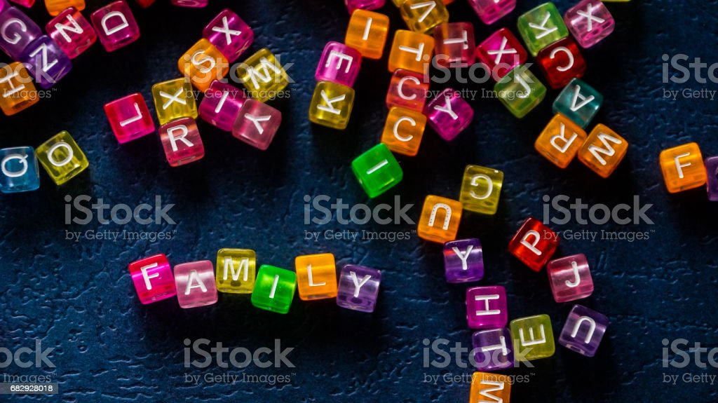 Word family square lined with colored letters. stock photo