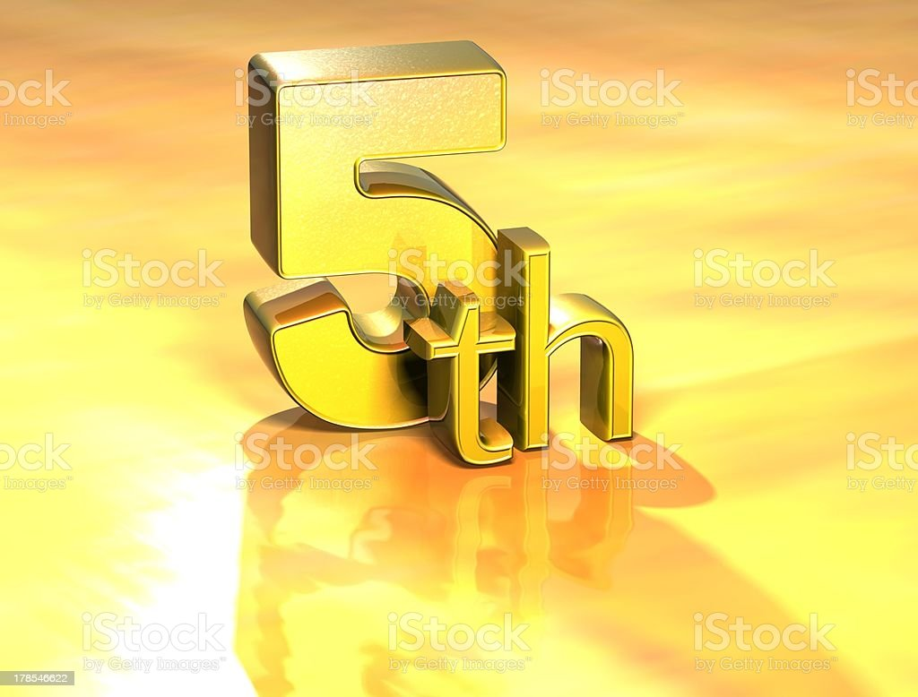 3D Word Fifth on gold background stock photo