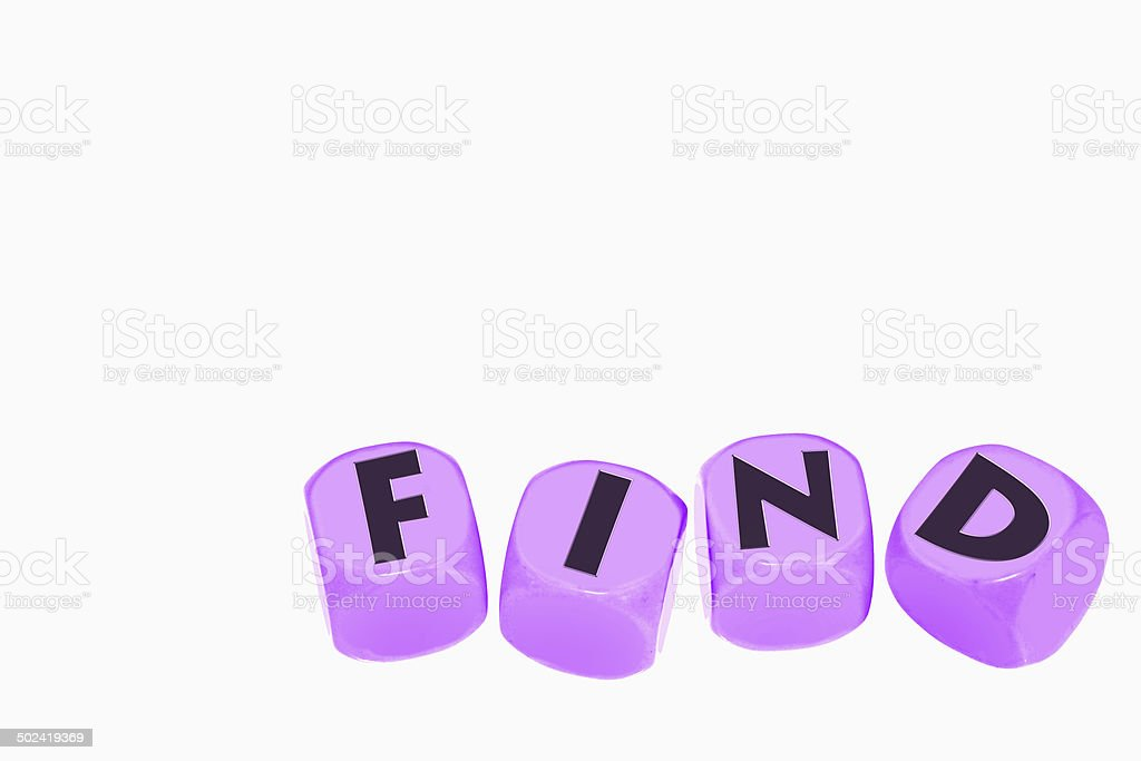 word FIND on cubes stock photo