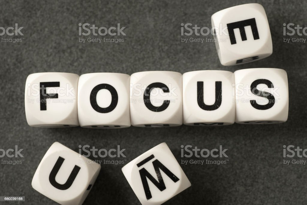 word focus on toy cubes stock photo