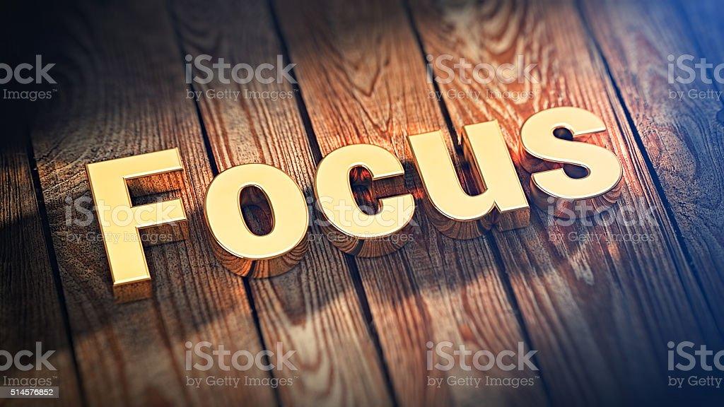 Word Focus on wood planks stock photo