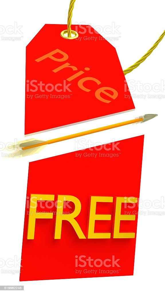 Word Free in Price Tag Cut by Arrow stock photo