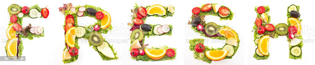 Word fresh made of salad and fruits stock photo