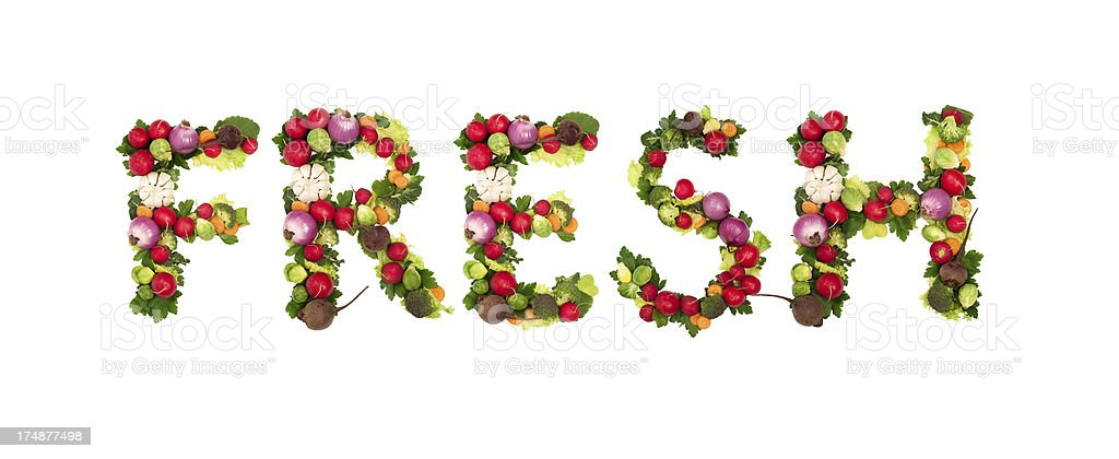 Word fresh written with vegetable font stock photo