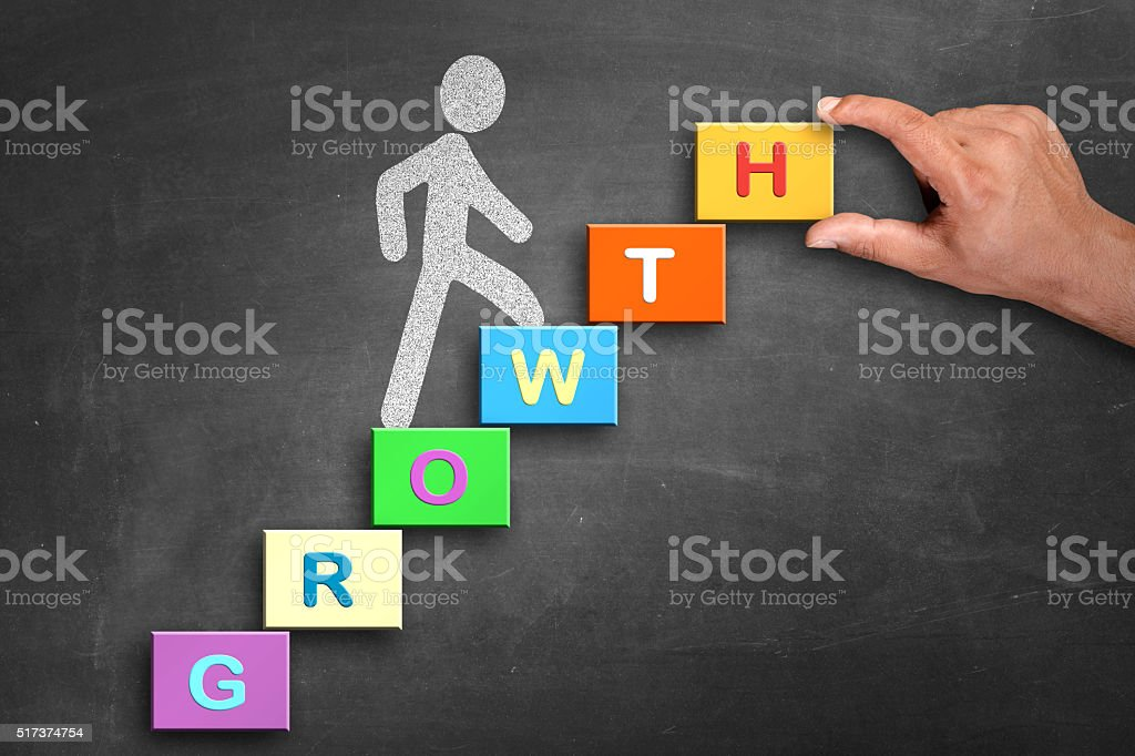 Word growth illustrated in blackboard with cubes stock photo