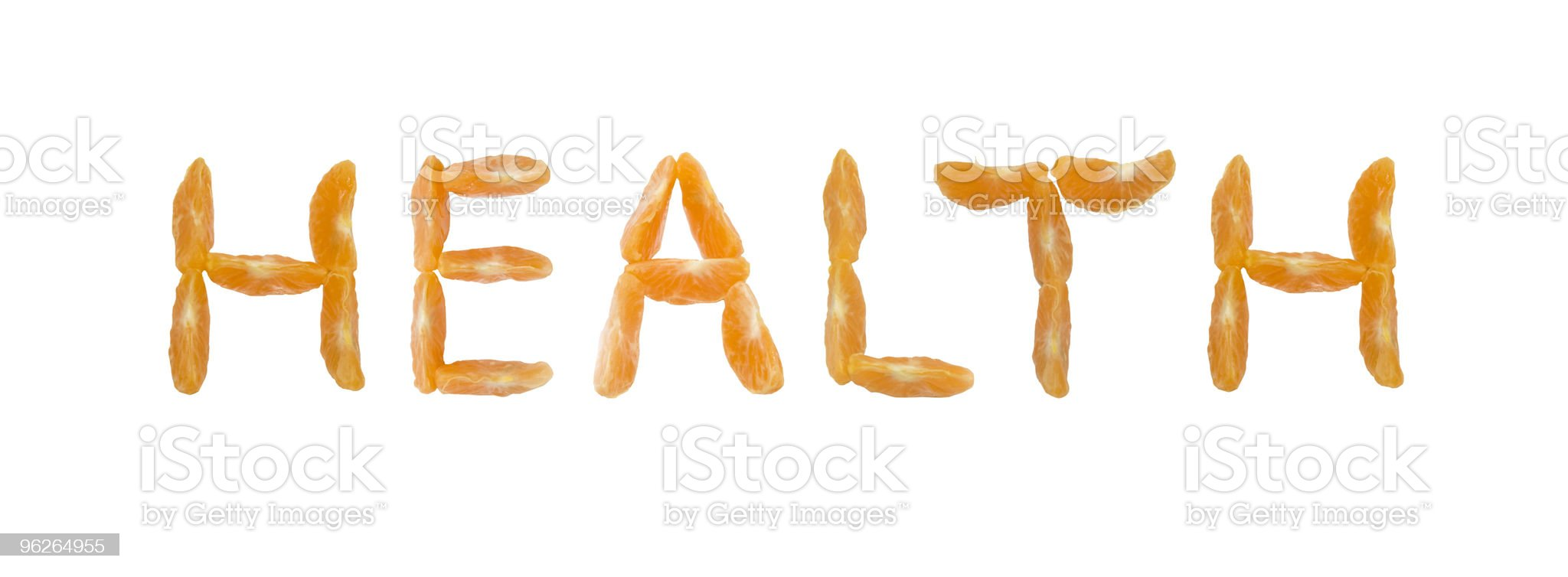 word health written with tangerine segments royalty-free stock photo