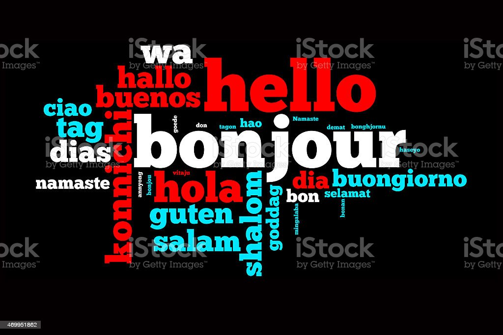 Word Hello translated in many languages stock photo