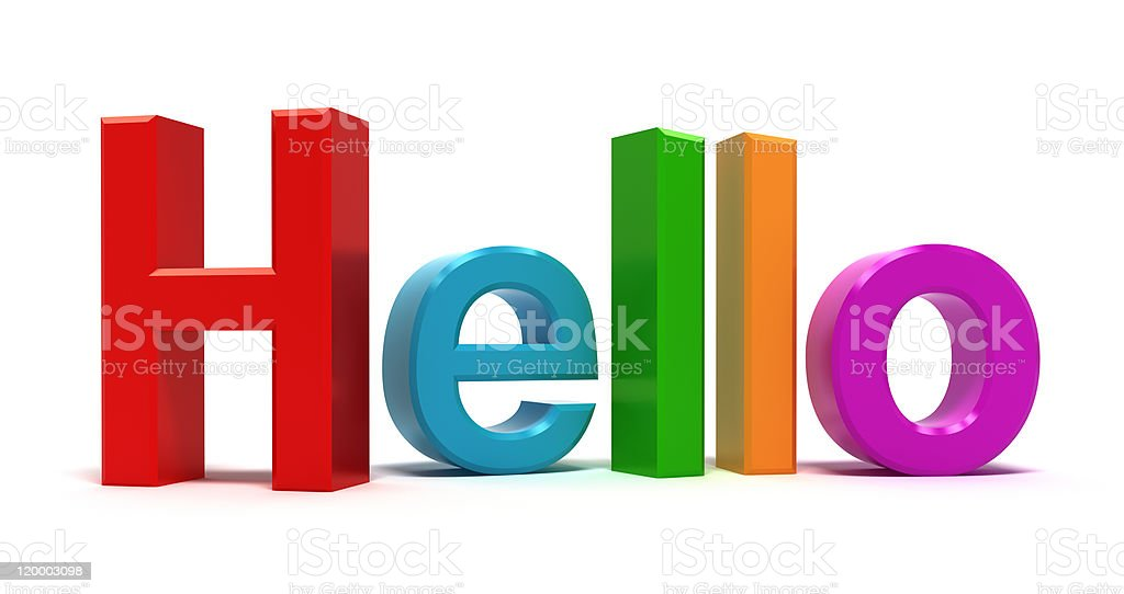 Word hello with colourful letters royalty-free stock photo