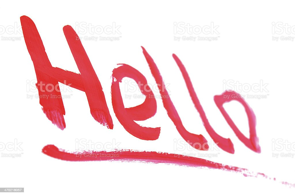 Word 'hello' written by a paint. royalty-free stock photo