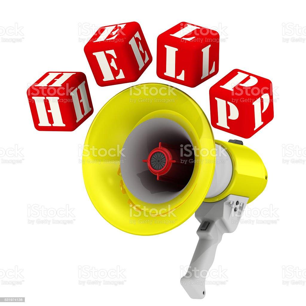 Word HELP around the megaphone stock photo