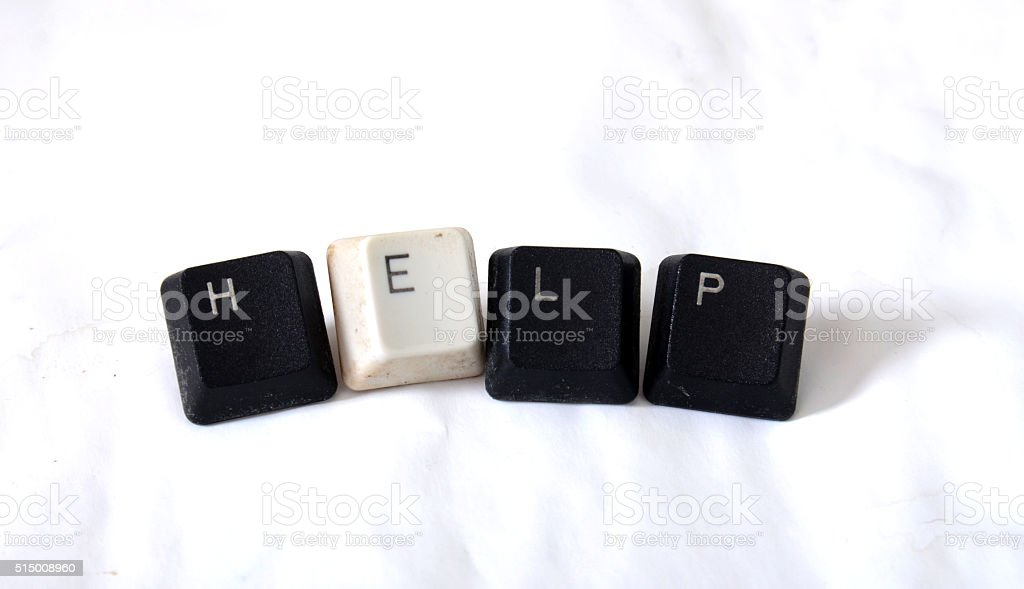 word help with keyboard buttons stock photo